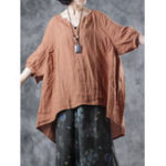 New Solid High Low Vintage Blouse