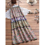 New Vintage Women Floral Print Strap Dress