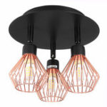 New 3 Way Ceiling light Modern G9 Copper Cage industrial Pendant Lamp Shade Spotlight Home Decorations