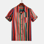 New Mens Summer Stripe Printing Buttons Practical Pocket Shirts