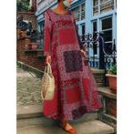 New Women Bohemian Cotton Side Pockets Long Sleeve Dress