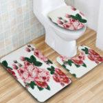 New 3Pcs Peach Blossom Non-Slip Bathroom Rugs Toilet Seat Covers Cushion Bath Lid Mat
