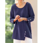 New Plus Size Solid Color Long Sleeve Button Irregular Blouse