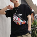 New Men Rivet Printed Graffiti Phone Chest Crossbody Bag