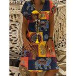 New Women Casual Short Sleeve V-Neck Art Printed Dress