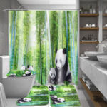 New 4Pcs Panda Bamboo Decor Non-Slip Rug Toilet Lid Cover Bath Mat Shower Curtain for Bathroom