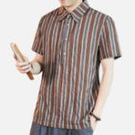 New Mens Summer Breathable Short Sleeve Striped Shirts