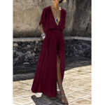 New Solid Color V-neck Loose Casual Beach Split Maxi Dress