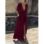 New Solid Color V-neck Loose Casual Beach Split Maxi Dress