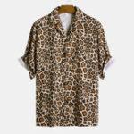 New Men Leopard Print Short Sleeve Relaxed Revere Shirts