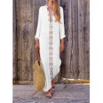 New Bohemian Print V-neck Long Sleeve Side Slit Maxi Dress