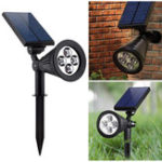 New 2-in-1 Garden Solar Light 4 LED Solar Spotlight Adjustable Outdoor Wall Lamp Landscape Security Lighting for Patio Deck Yard