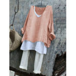 New Solid Casual V Neck Two-pieces Long Sleeve Women Blouse