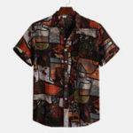 New Mens Vintage Loose Summer Splicing Pattern Printed Shirts