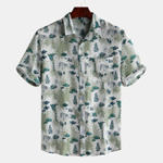 New Mens Funny Printed Short Sleeve Summer Loose Casual Shirts