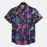 New Mens Ethnic Style Printed Turn Down Collar Casual Shrts