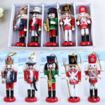 New 5Pcs 12CM Wooden Nutcracker Soldier Handcraft Walnut Puppet Christmas Decorations Gift