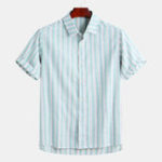 New Mens Summer Striped Short Sleeve Button up Casual Shirts