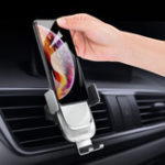 New Licheers Metal Glass 10W Qi Wireless Charger Infrared Sensor Auto-clamping Air Vent Car Phone Holder For 4.0 Inch – 6.5 Inch Smart Phone