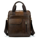 New MVA Men Genuine Leather Waterproof Casual Crossbody Bag