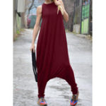 New Womens Sleeveless O Neck Casual Loose Jumpsuits Overalls