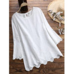 New Women Casual Loose Solid Embroidered Blouse
