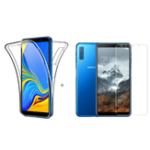 New Full Body Clear Touch Screen Protective Case + 2.5D Tempered Glass Screen Protector For Samsung Galaxy A7 2018