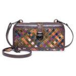 New Women Weaving Patchwork Vintage Genuine Leather Long Wallet