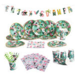 New Birthday Party Decorations Set for Boys or Girls Paper Cup Plates Straws Paper Cards