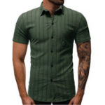 New Mens Business Stripe Chest Pocket Short Sleeve Casual Shirts