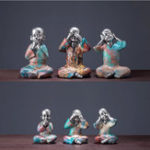 New 3PCS Speak Hear See No Evil Buddist Monk Resin Ornament Home Office Decorations Gift