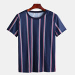 New Mens Summer Big Stripe Design Crew Neck Shirts