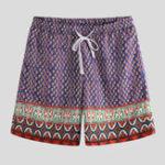 New Men Ethnic Pattern Print Quick Dry Drawstring Board Shorts