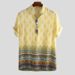 New Mens Breathable Ethnic Printed Short Sleeve Henley Shirts