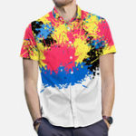 New Mens Colorful Splash Ink Painting Street Printing Shirts