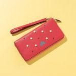 New Brenice Women Faux Leather Pearl Long Wallet