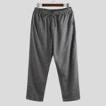 New Mens Vintage Cotton Drawstring Ankle Length Pants