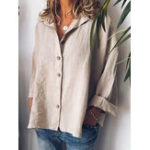 New Women Solid Color Long Sleeve Button Down Front Shirts