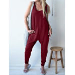 New Sleeveless Backless Loose Solid Jumpsuit