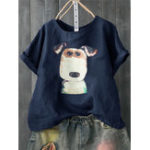 New Women Casual Print Dog Cartoon Short Sleeve T-Shirts