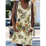 New Floral Print O-neck Sleeveless Bohemian Dress with Pockets