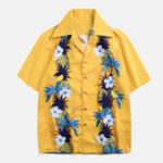 New Men Pineapple Floral Print Holiday Hawaiian Shirts