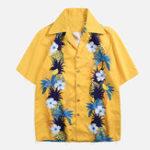 New Men Pineapple Floral Print Holiday Hawaiian Shirts