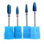 New 4pcs Blue Tungsten Steel Nail Drill Bits Grinding Head Carbide Burrs for Electric Manicure Machine