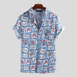 New Men Cartoon Pattern Print Short Sleeve Relaxed Shirts