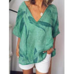 New Women Short Sleeve V-neck Floral Loose Casual Blouse