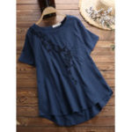 New Women Casual Embroidered Crew Neck Short Sleeve T-Shirts