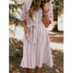 New Women Casual Striped Half Sleeve O-Neck Pockets Dress