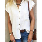 New Women Pure Color High Low Hem Button Down Pocket Blouse