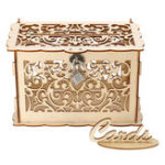 New Wooden Wedding Post Box Weddings Reception Card Box With Lock Party Decoration
